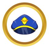 Blue pilot cap with badge icon. In golden circle, cartoon style isolated on white background vector illustration