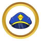 Blue pilot cap with badge vector icon. In golden circle, cartoon style isolated on white background Royalty Free Stock Image