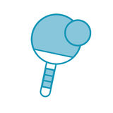 Blue ping pong paddle and ball Royalty Free Stock Image