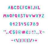 Blue and pink alphabet and figures Royalty Free Stock Photos