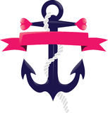 Blue and pink anchor design Royalty Free Stock Photography