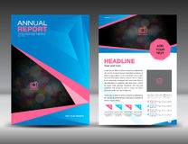 Blue and pink Annual report template, cover design, brochure flyer. Layout template design, poster royalty free illustration