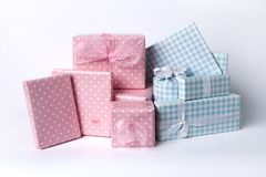 Blue and pink baby gifts Stock Photography