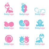 Blue and Pink Baby logo vector design Stock Images