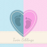 Blue pink baby shower twin siblings invitation Royalty Free Stock Photo