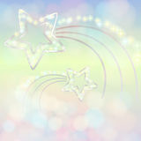 Blue-pink  background with silver stars Stock Images