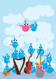 Blue Pink Birds Instrument_eps. Illustration of blue pink birds instrument on cloudy background. --- This .eps file info Version: Illustrator 8 EPS Document: A4 royalty free illustration