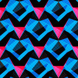 Blue pink and black polygons on a dark background seamless pattern. (vector eps 10 Stock Images