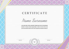 Blue pink border. Official white certificate Ribbons in the corners Royalty Free Stock Photo