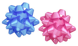 Blue and pink bows Stock Photos