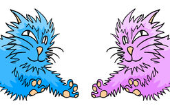 Blue and pink cats. Creative design of blue and pink cats Stock Photography