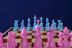 Blue and pink chess pieces stand on the starting positions on the classic chessboard. Blue background. View from the camp of pink stock illustration