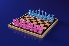 Blue and pink chess pieces standing on the starting positions on the classic chessboard. General view. Concept: confrontation of stock illustration