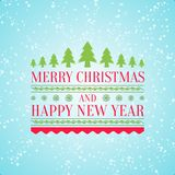 Blue and pink christmas and new year greeting card. Merry Christmas and Happy New Year greeting having snowflakes and pattern and green trees on light blue royalty free illustration