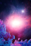 Blue pink clouds with spiritual light Stock Photo