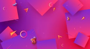 Blue with pink color abstract background with geometric shapes vector illustration