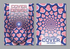 Blue pink color scheme book cover design template with optical motion illusion elements vector illustration
