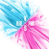Blue and Pink color versus abstract background. Balance of masculine and feminine principles. Stock Images