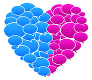 Blue And Pink Colored Speech Bubbles Heart Shape. Vector Illustration Stock Image