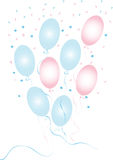 Blue and pink confetti with baloons Royalty Free Stock Photography