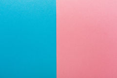 Blue and pink contrast background. Copy space. Sex differences, baby gender concept Stock Image