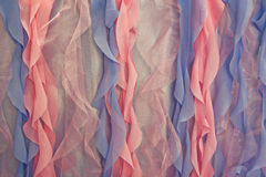 Blue and pink curtains close-up Stock Images
