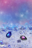 Blue and pink diamond drops. Placed on a diamond ground of many cuts and forms. The background texture consists of subtle silhouettes of peacock feathers and Stock Photography
