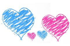 Blue an pink doodle heart Stock Image