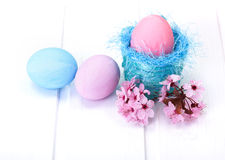 Blue and pink Easter eggs Stock Photos