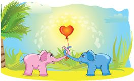 Blue and pink elephant Royalty Free Stock Image
