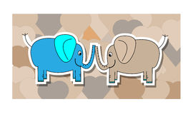 Blue and pink elephant with hearts Stock Image