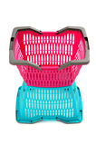 Blue and pink empty plastic shopping basket. Stock Photography