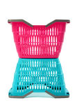 Blue and pink empty plastic shopping basket. Stock Image