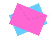 Blue and pink envelopes isolated on white Royalty Free Stock Photos