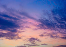 Evening sky. Blue and pink evening sky. Clouds at sunset Royalty Free Stock Photo