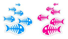 Blue and pink fish bone stickers. Background with blue and pink fish bone stickers with shadow Royalty Free Stock Photography