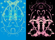 Blue and pink flower ornament Stock Image