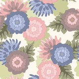Blue and pink flowers. Decorative floral blue and pink vector pattern Royalty Free Stock Image