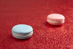 Blue and pink French macarons Royalty Free Stock Photography