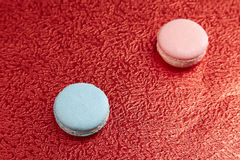 Blue and pink French macarons Royalty Free Stock Images