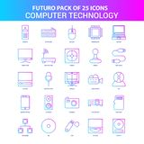 25 Blue and Pink Futuro Computer Technology Icon Pack. This Vector EPS 10 illustration is best for print media, web design, application design user interface vector illustration