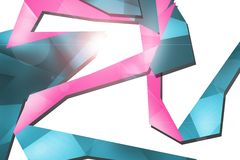 Blue and pink geometric shape overlap, abstract background Royalty Free Stock Images
