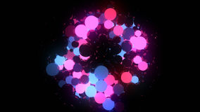 Blue and pink glowing balls on black background 3d rendering Stock Image