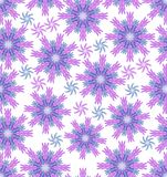 Blue and pink grabbed stars on white background, seamless flower vector background, beautiful floral ornament Stock Image