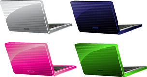 Blue, pink, green, white laptops stock image
