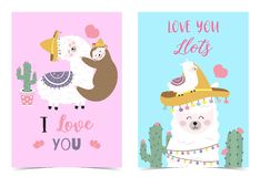 Blue pink hand drawn cute card with llama,sloth,hat,heart.I love you.Love you llots. Blue pink cute card with llama,sloth,hat,heart.I love you.Love you llots vector illustration