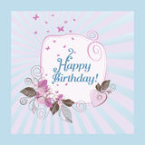 Blue and pink happy birthday card Stock Images