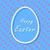 Blue and pink Happy Easter greeting card with eggs pattern, banner, and text stock illustration