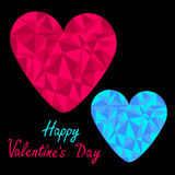 Blue and pink hearts. Polygonal effect. Black back Royalty Free Stock Photos