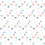 Blue and pink hearts on white Stock Images